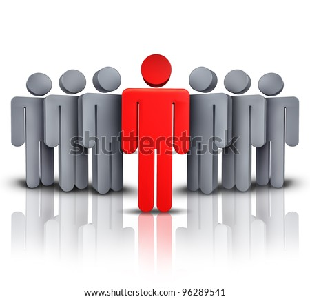Take charge and social business financial symbol with one leading red human character managing advising and leading a team of followers to a path of success and financial wealth on white background. - stock photo
