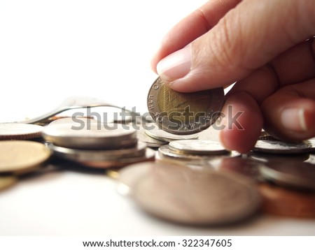Take money, thai baht coin  - stock photo