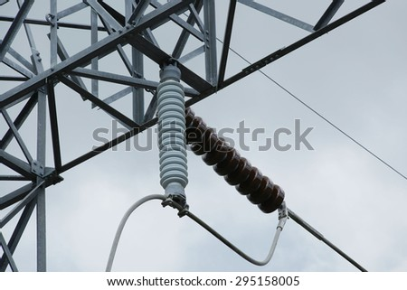Take of steel structure with tension and suspension insulator - stock photo