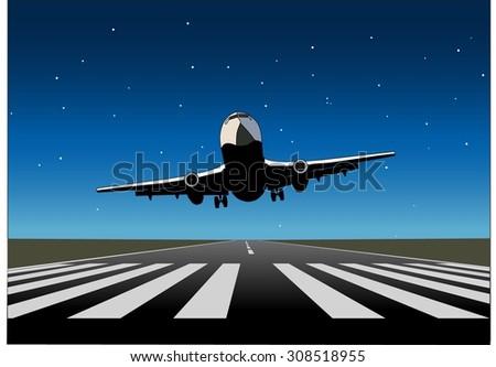 Take off airplane - stock photo
