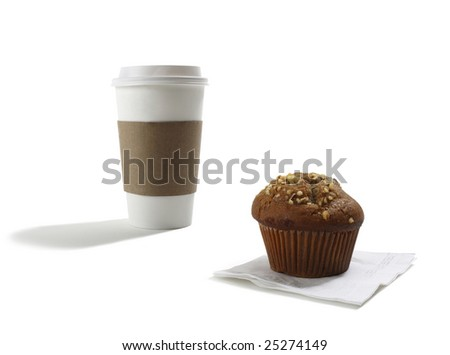 Take out Coffee Cup and Muffin - stock photo