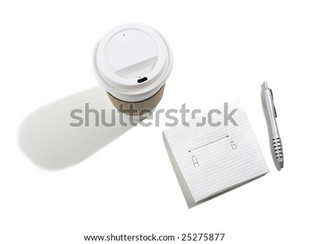 Take out Coffee Cup and Note on Napkin