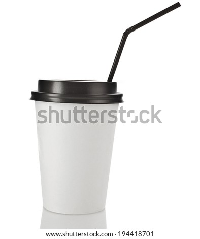 Take-out coffee in disposable thermo cup. with black straw Isolated on a white  background - stock photo