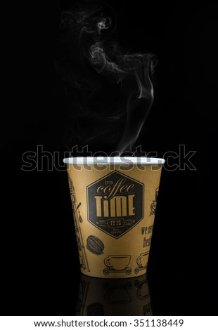 Take-out coffee in thermo cup. Isolated on a black