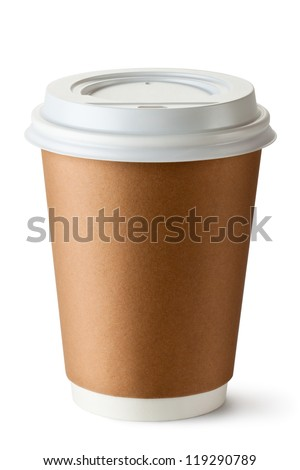 Take-out coffee in thermo cup. Isolated on a white. - stock photo