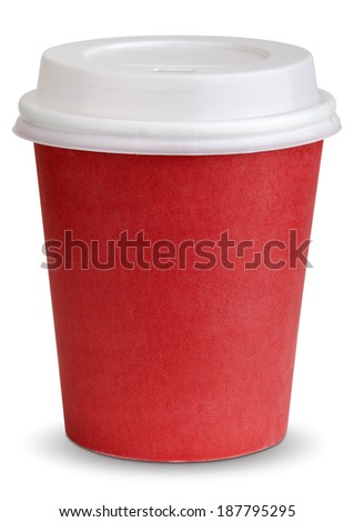 Take-out coffee in thermo cup. Isolated on a white. clipping patch - stock photo