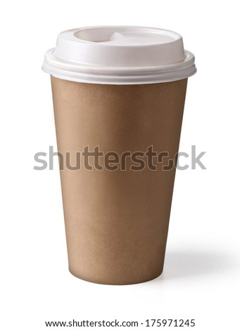 Take-out coffee in thermo cup. Isolated on a white.With clipping path - stock photo