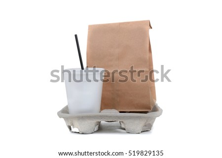 take out lunch objects fast food concept white background
