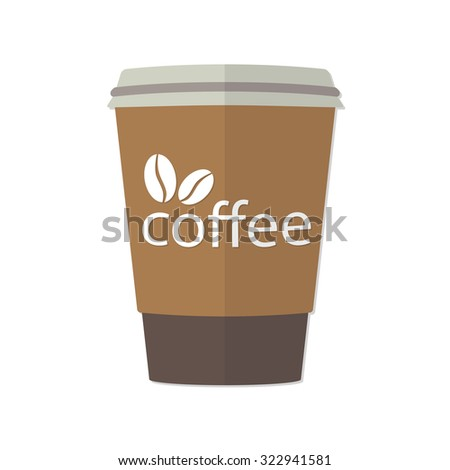 Take-out or takeaway coffee cup with image of coffee beans. Illustration of espresso in cardboard container on white background. - stock photo