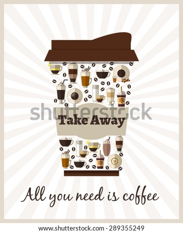 Take-out or takeaway coffee poster. Drink and latte, cappuccino beverage, refreshment breakfast, espresso and caffeine, container cardboard - stock photo