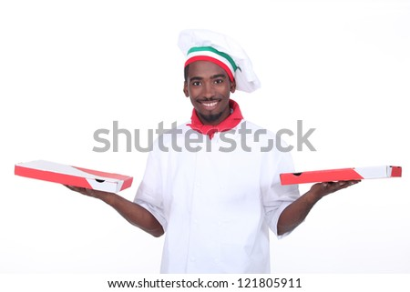 Take out pizza guy - stock photo
