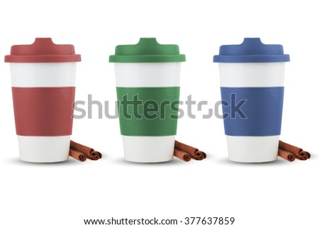 Take out thermo cups  silicone lid isolated with shadows and cinnamon on white background - stock photo
