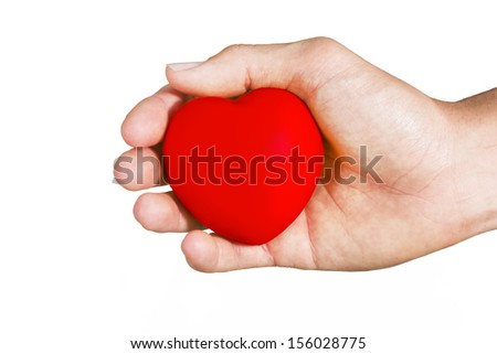 take the heart with the hand isolated