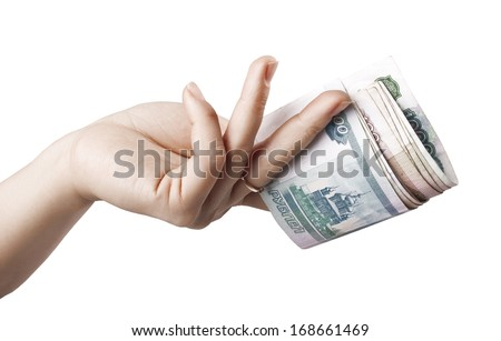 Take your money. Money in a woman's hand - stock photo