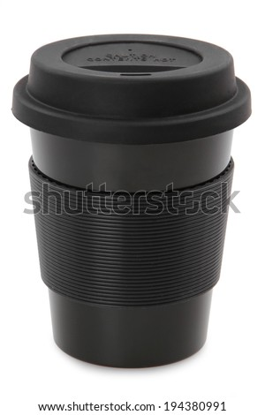 takeaway black plastic cup isolated on white background