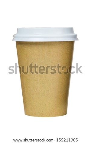 Takeaway coffee cup isolated on white background. Coffee package. Just add your own text