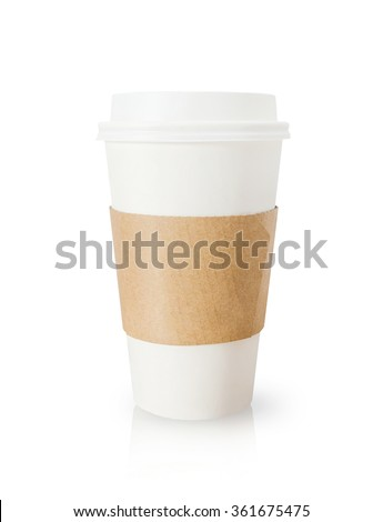 Takeaway coffee cup on white background.