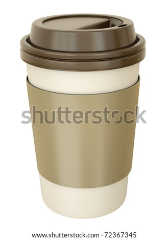 Takeaway coffee cup with lid. 3D render. - stock photo
