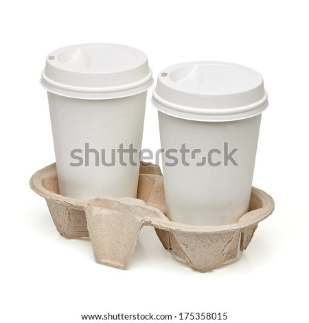 Takeaway coffee cups in carry tray including clipping path  - stock photo
