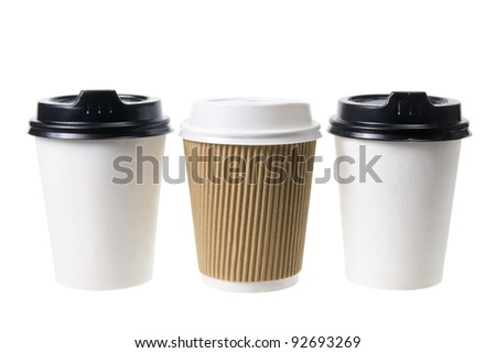 Takeaway Coffee Cups on White Background - stock photo
