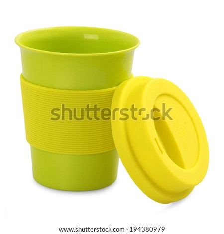 takeaway green plastic cup isolated on white background