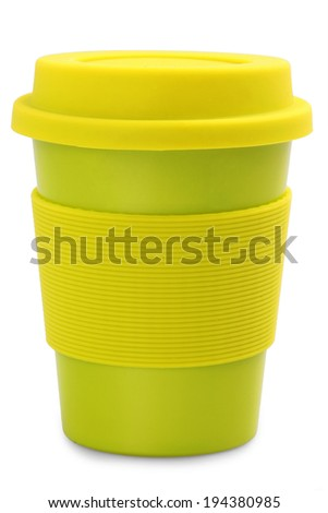 takeaway green plastic cup isolated on white background  - stock photo