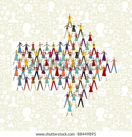 Taked by hands people group in an arrow shape symbol. Social icons set pattern background. - stock photo