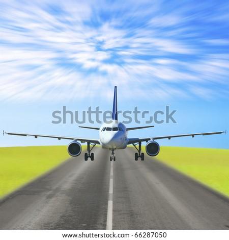 Takeoff Jet Destination - stock photo