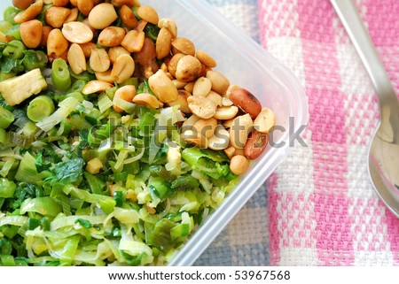 Takeout meal with healthy vegetable variety. Suitable for concepts such as diet and nutrition, healthy lifestyle, and food and beverage. - stock photo