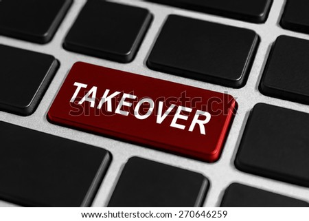 takeover red button on keyboard, business concept - stock photo