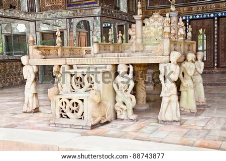 Takht-e Marmar (Marble Throne) was built in 1806 by order of Fath Ali Shah Qajar, Golestan palace, Tehran, Iran - stock photo