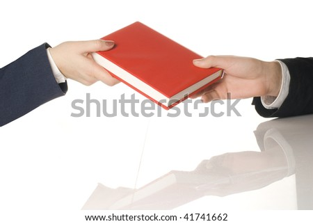 Taking a red book - stock photo