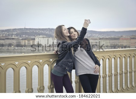 taking a selfie - stock photo
