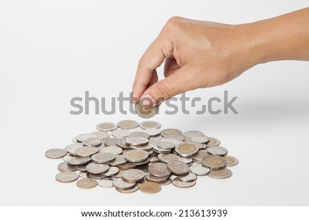 taking a Silver coin white background - stock photo