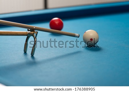 Taking Aim - Person Playing Billiards Lined Up To Shoot Easy Winning Shot