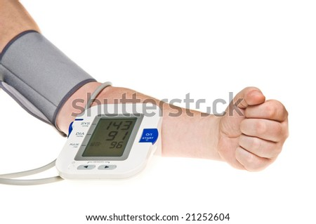Taking blood pressure over white