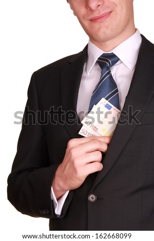 taking bribe money - stock photo