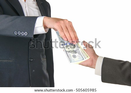 taking bribe money