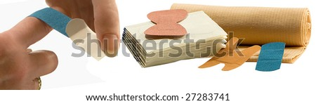 TAKING CARE OF A INJURY - stock photo