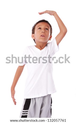 Taking child growth measures and looking up - stock photo