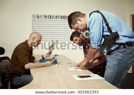 Taking finger prints - stock photo