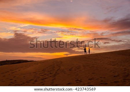Taking in the stunning views on the sand dunes