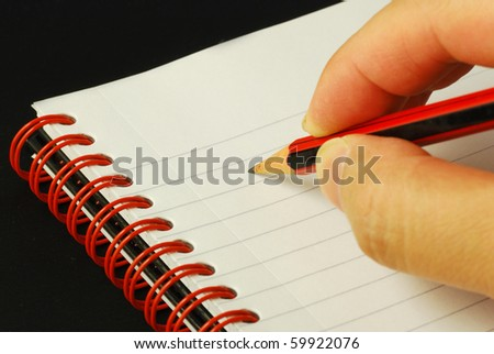Taking notes concepts of education and knowledge - stock photo