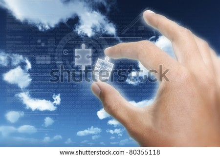 Taking or putting the right piece of  information puzzle into digital information technology data transfer - stock photo