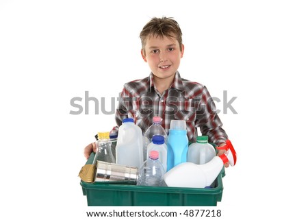 Taking out the rubbish suitable for recycling. - stock photo
