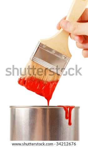 Taking paint with brush - stock photo