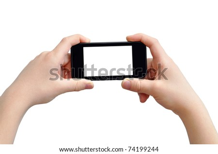 Taking photo on mobile device, isolated on white, clipping path - stock photo