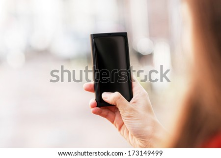 Taking picture with mobile phone - stock photo