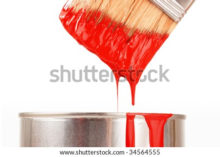 Taking red paint - stock photo