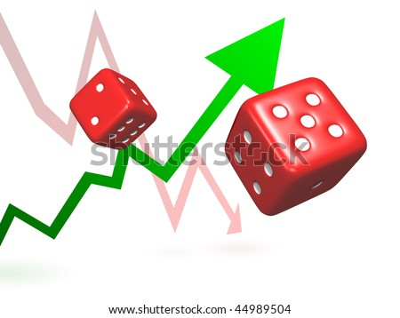 Taking Risks - Rolling dice symbolizing taking chances and risks to achieve success or failure represented by rising and falling arrows